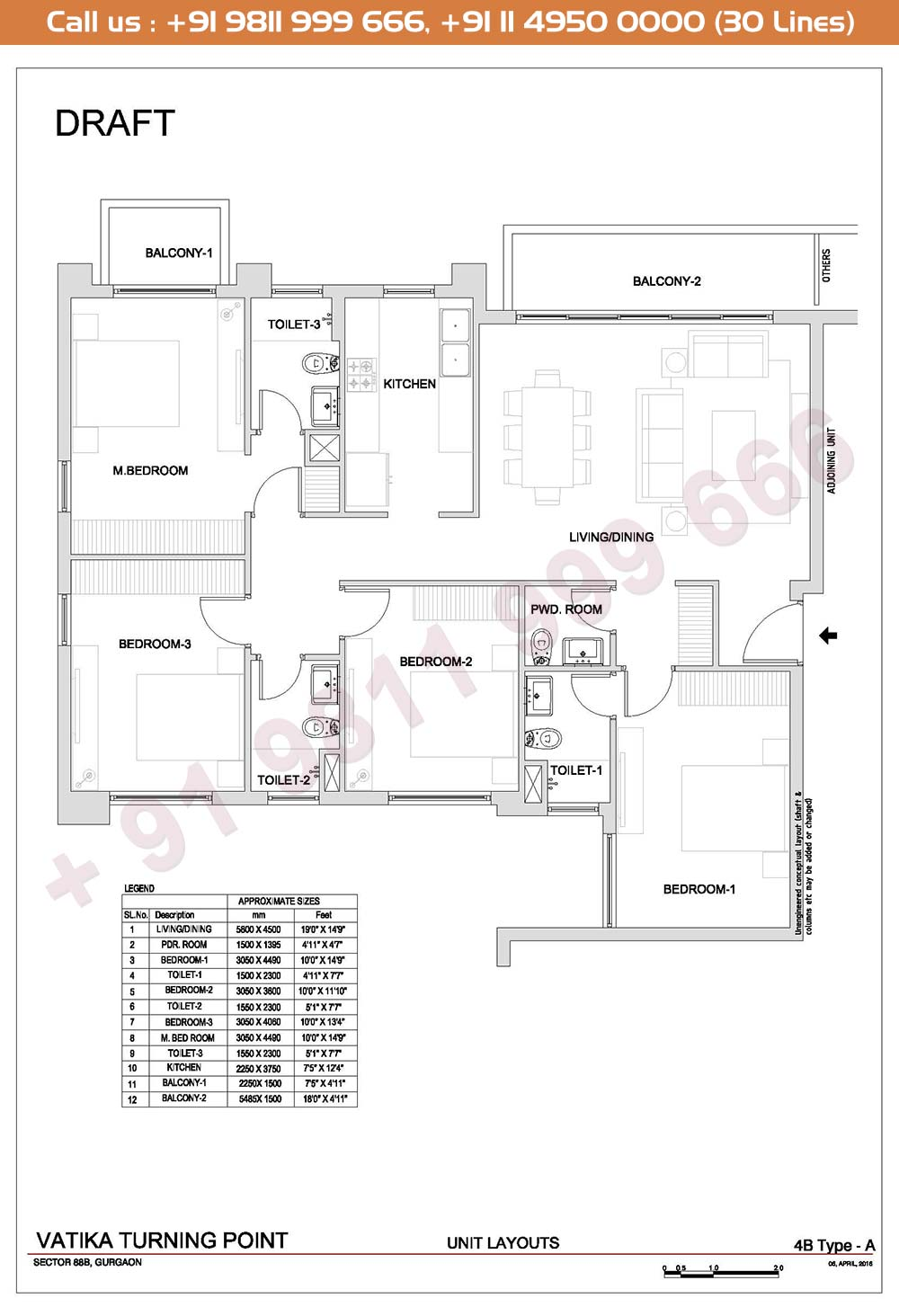 4 BHK, Type A