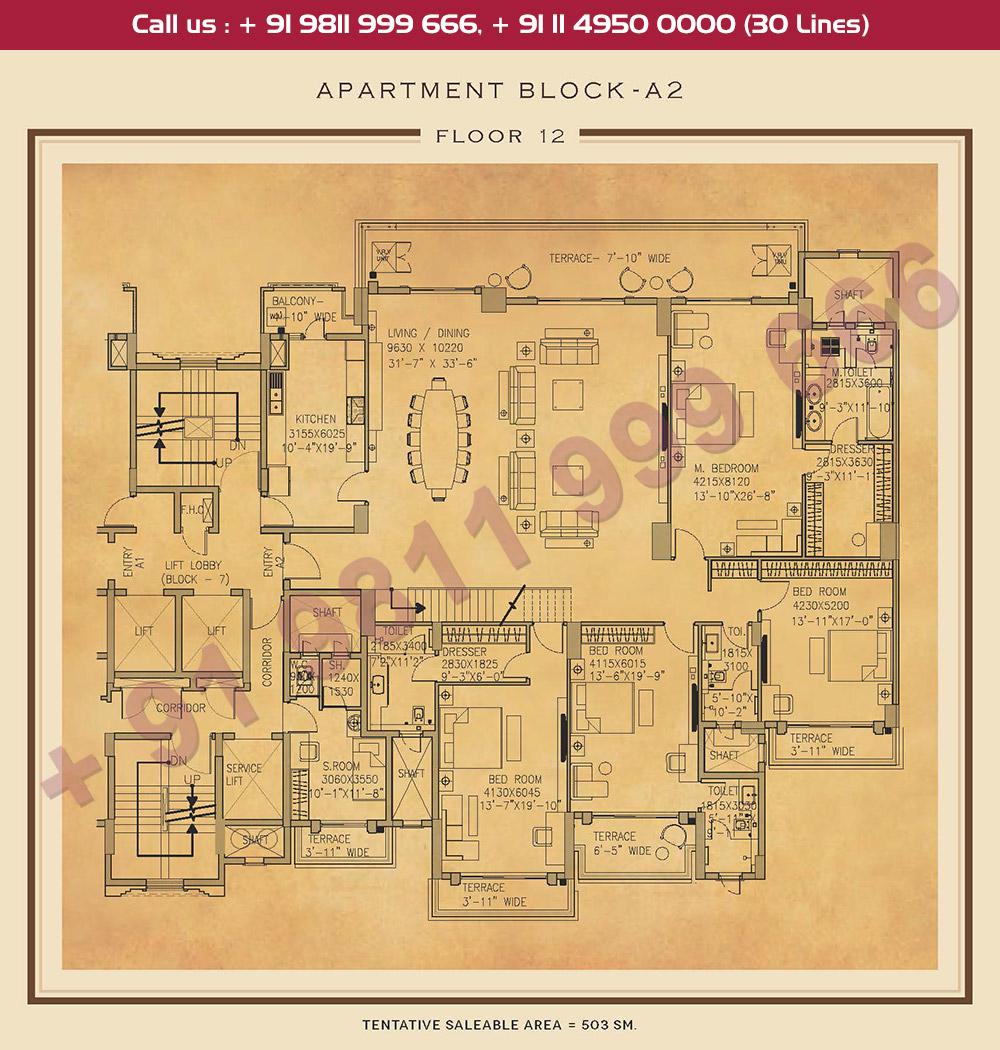 Twelfth Floor Plan : 5414 Sq.Ft.