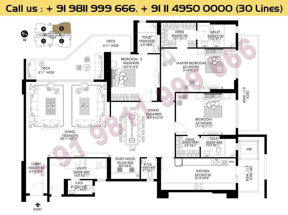 3 BHK+Uitility Apt No 1 Ground Floor : 3518 Sq.Ft.