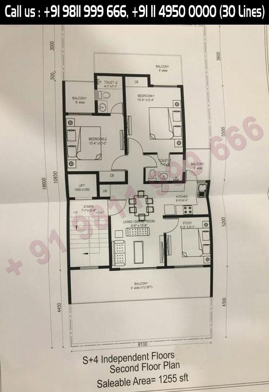 1255 Sq. Ft. Second Floor Plan