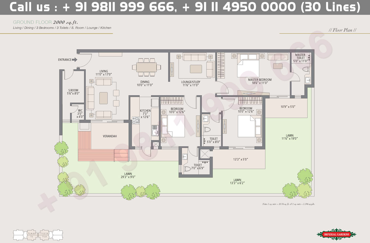 Ground Floor Plan 1 : 2000 Sq.Ft