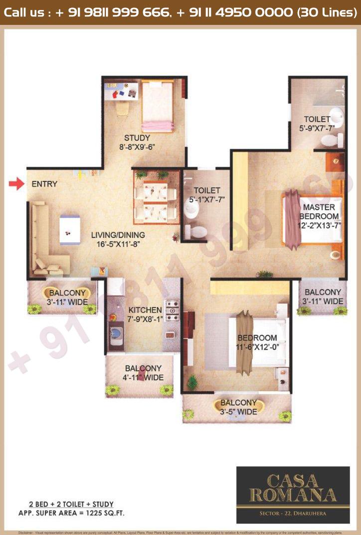 2 BHK + Study Floor Plan : 1225 Sq.Ft.