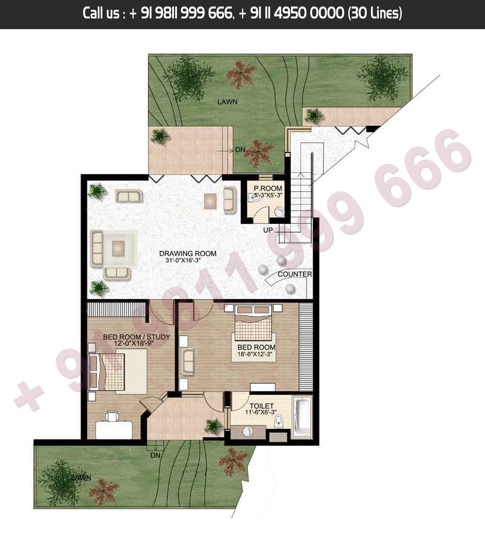 Lower Level, 6 Bed + Servant, Saleable Area: 4585.79 + 1214.50 Terrace