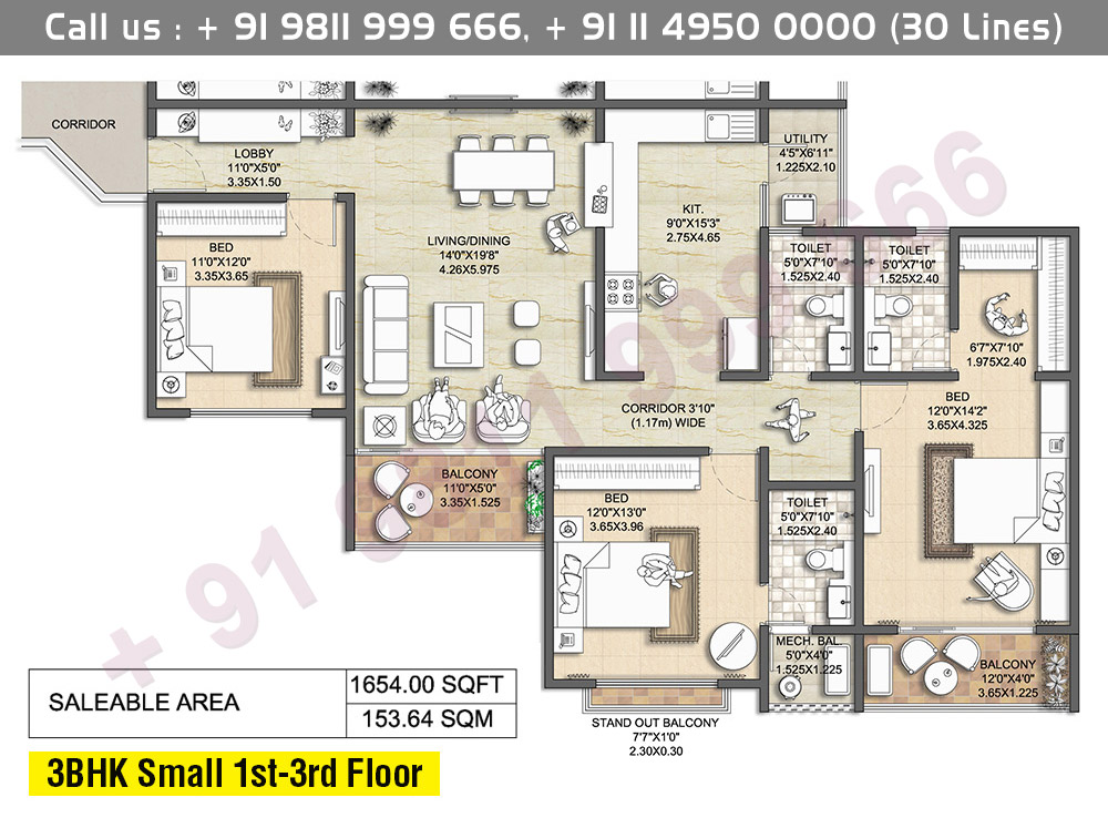 3 BHK Small 1st - 3rd Floor: 1654 Sq.Ft.