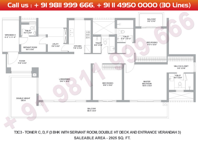 Tower C, D & F 3 BHK Large Type 3C3 : 2925 Sq.Ft.