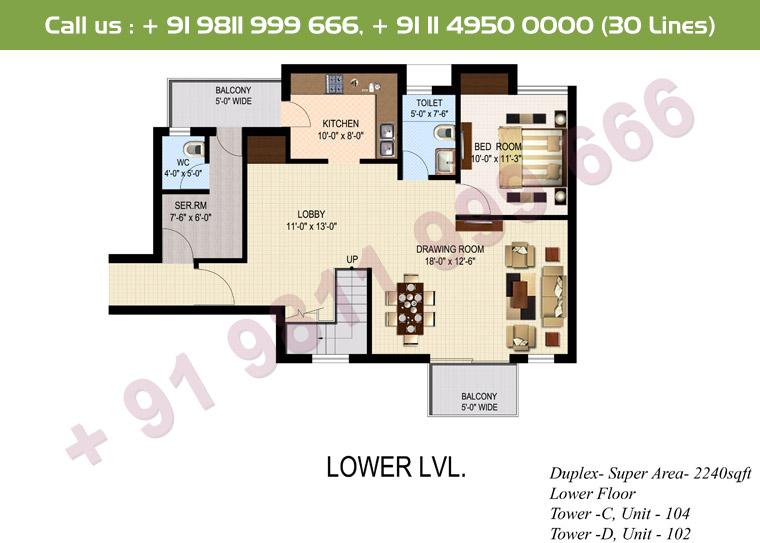 4 BHK+ S Duplex Lower Floor : 2240 Sq.Ft.