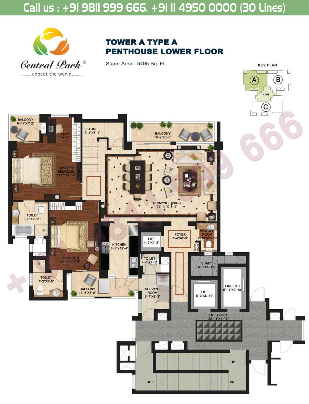 Tower - A, Type - A, Penthouse Lower Floor:  5495 Sq. Ft