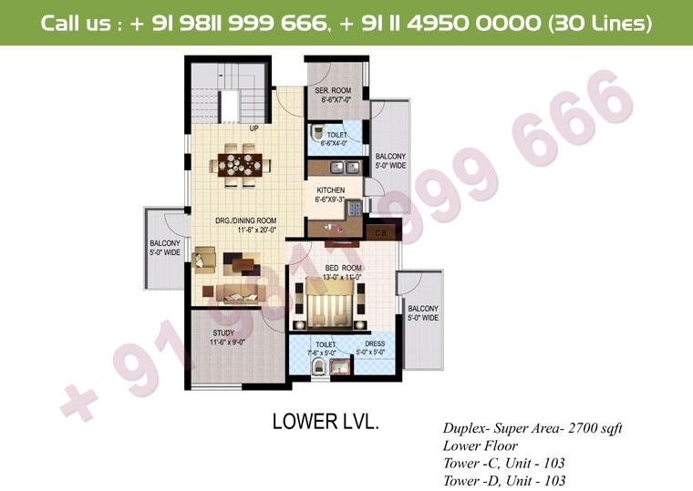 4 BHK+ S Duplex Lower Floor : 2700 Sq.Ft.