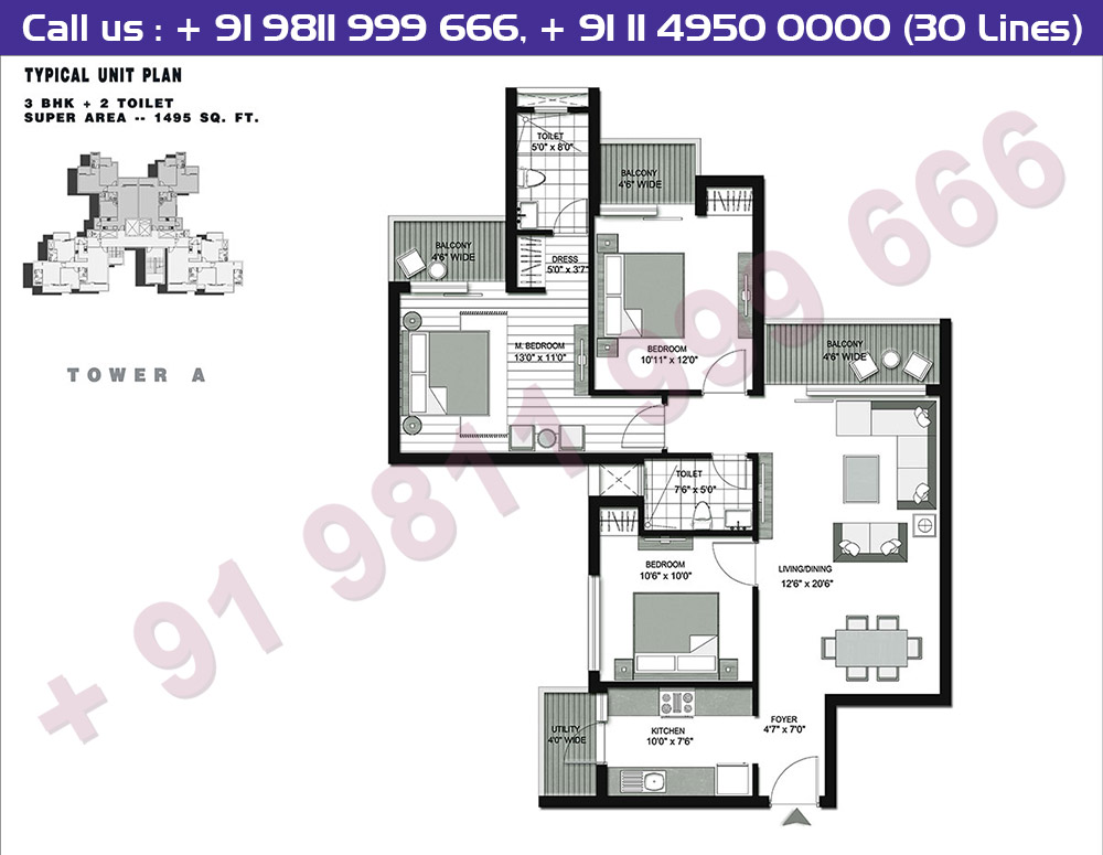 Tower A 3 BHK + 2T : 1495 Sq.Ft.