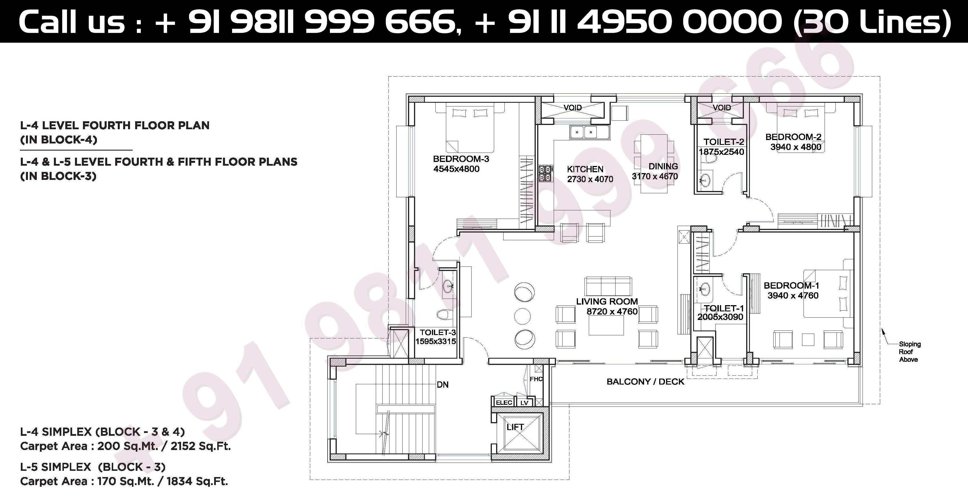 4th & 5th Floor Plan, Block - 3 & 4, Carpet Area, 200 Sqmt: 2152 Sq. Ft