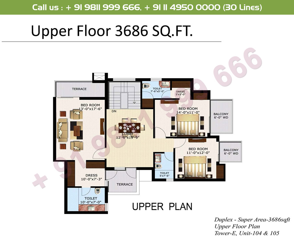 5 BHK+ S Duplex Upper Level : 3686 Sq.Ft.