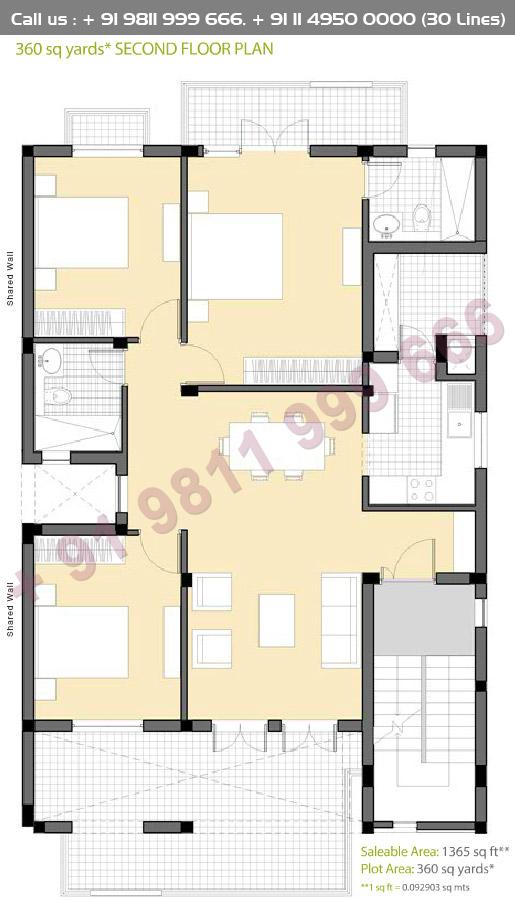 Second Floor Plan : 1365 Sq.Ft.
