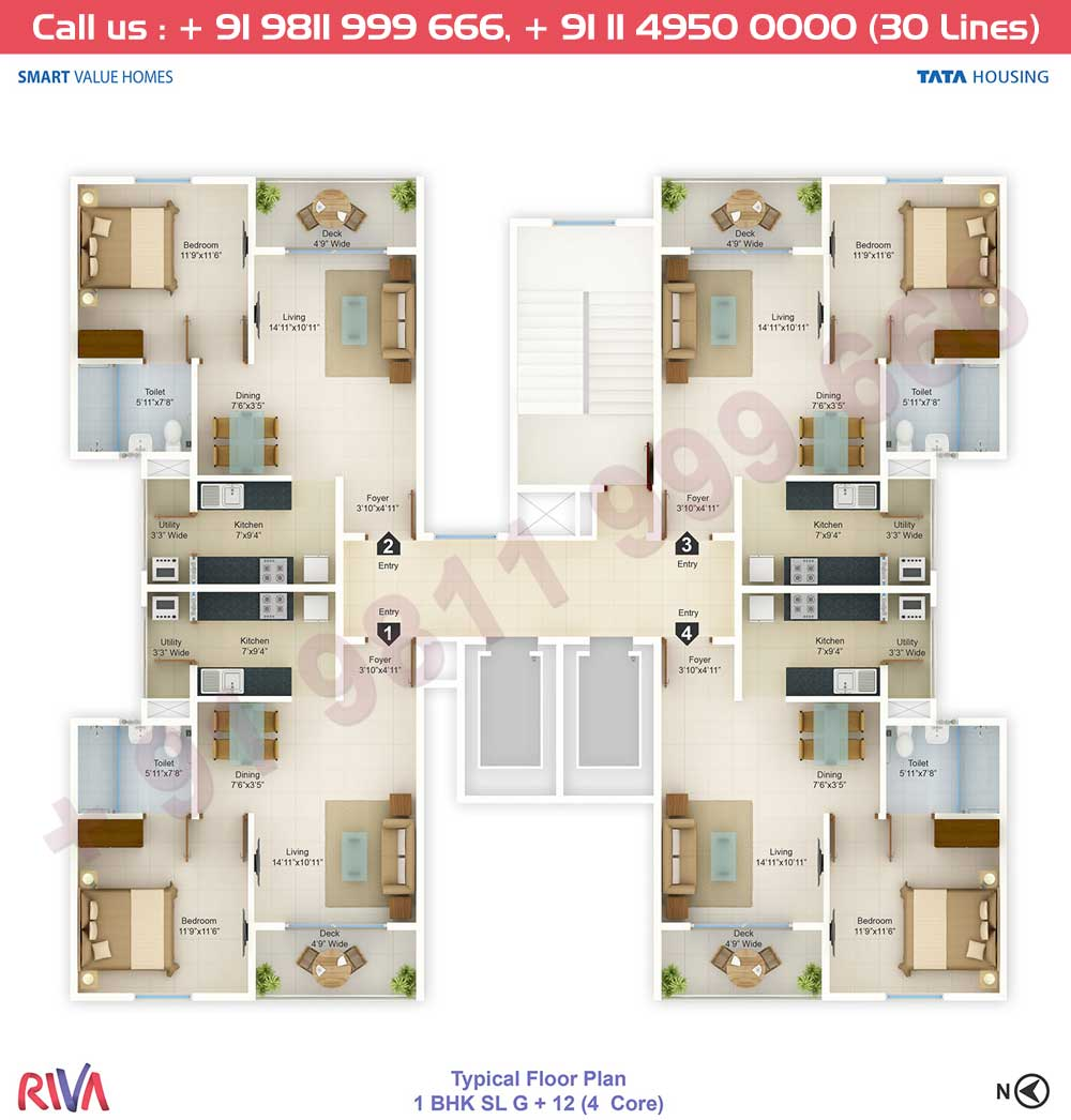Typical Floor Plan, 1 BHK + SL
