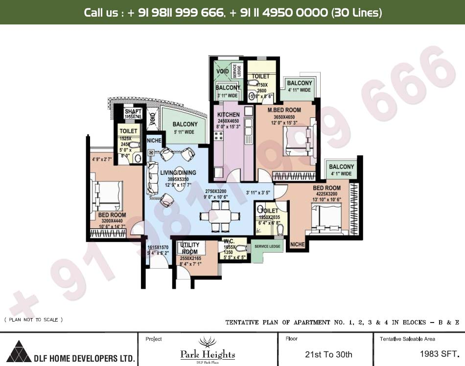 3 BHK 21st - 30th Floors : 1983 Sq.Ft.