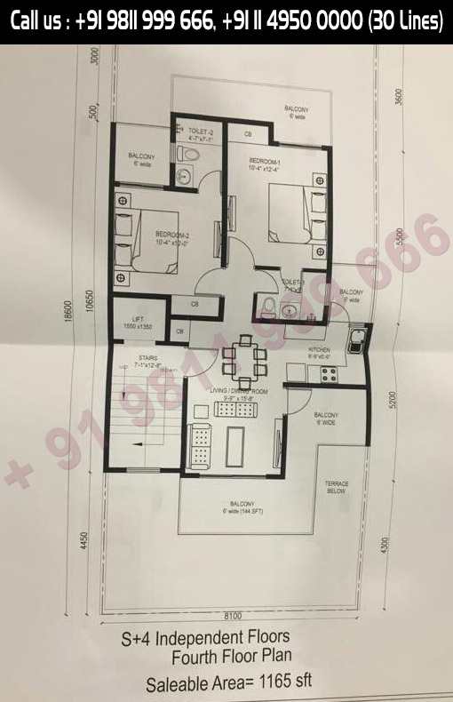 Fourth Floor Plan, Salable Area : 1165 Sq. Ft.