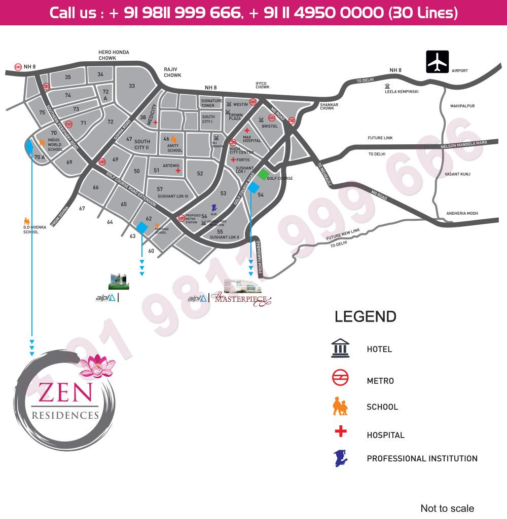 AIPL Zen Residences - Location Map