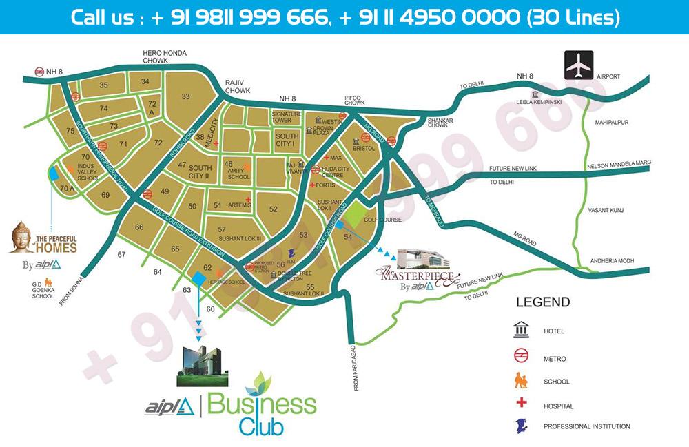 Location Map - AIPL Business Club Gurgaon