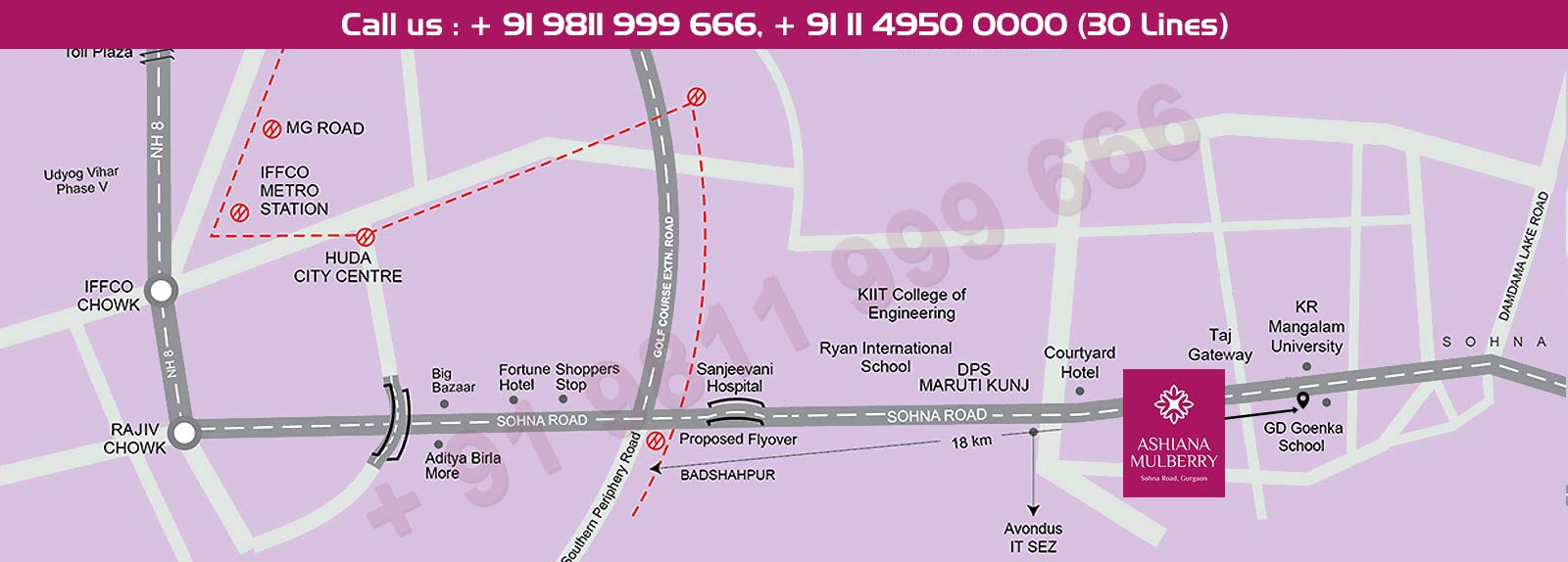 Ashiana Mulberry Location Map