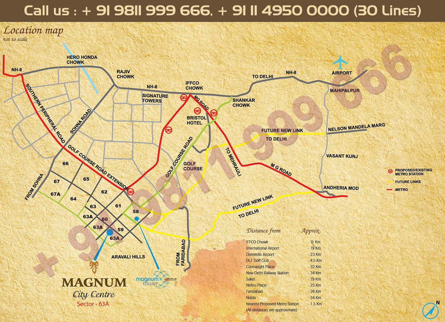 Location Map - Monnet Magnum City Centre Gurgaon