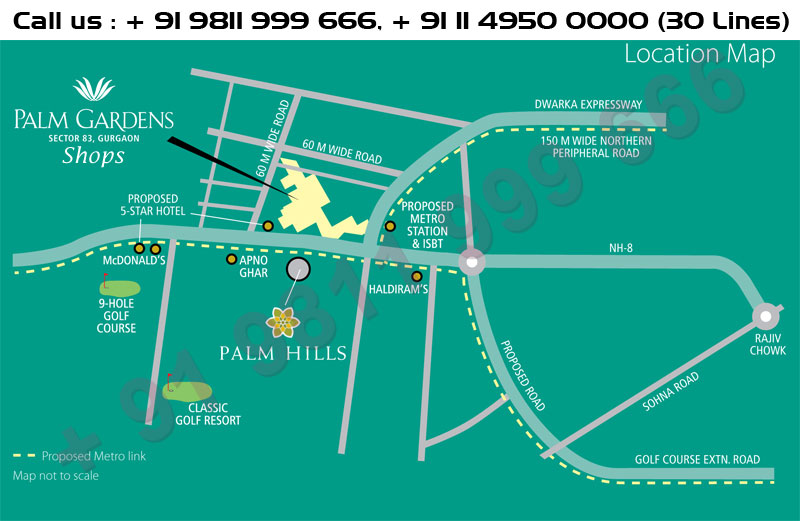 Emaar MGF Palm Gardens Shops Location Map