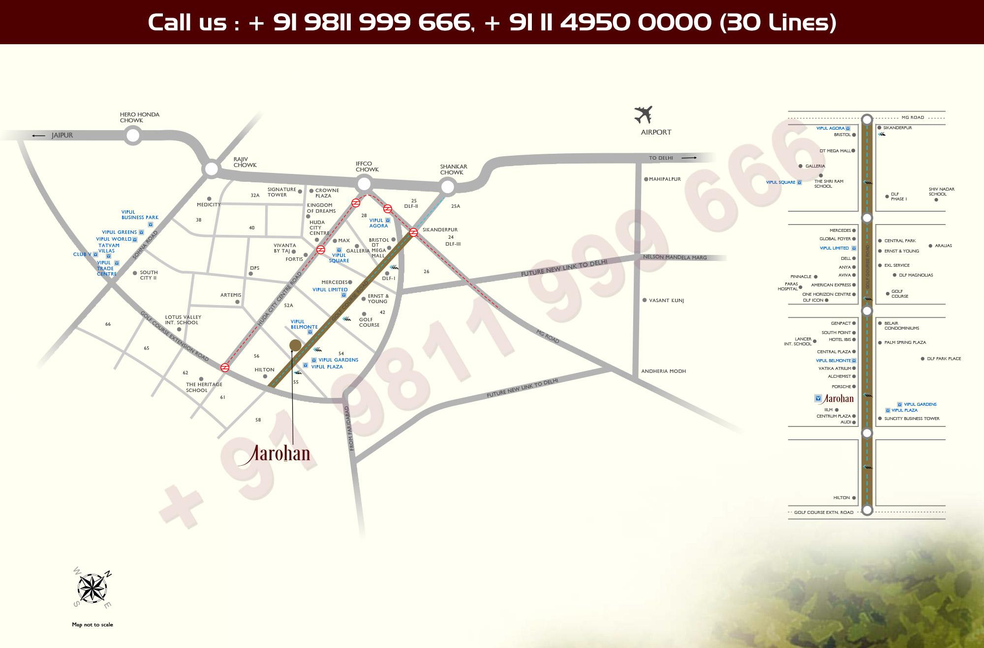 Location Map - Vipul Aarohan Gurgaon