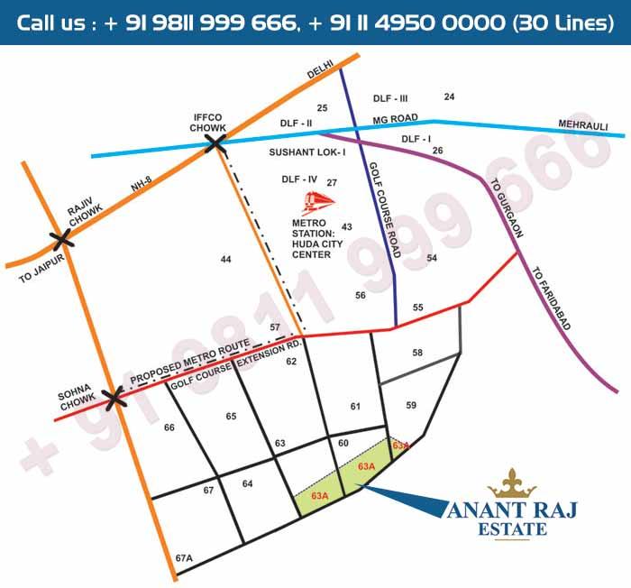 Anantraj Estate Plaza Location Map