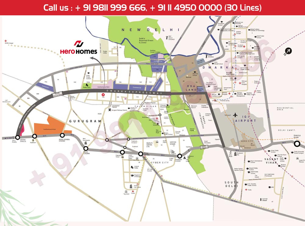 Location Map - Hero Homes Gurgaon Sector 104