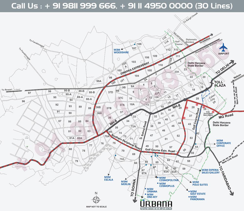 M3M Urbana Business Park Location Map