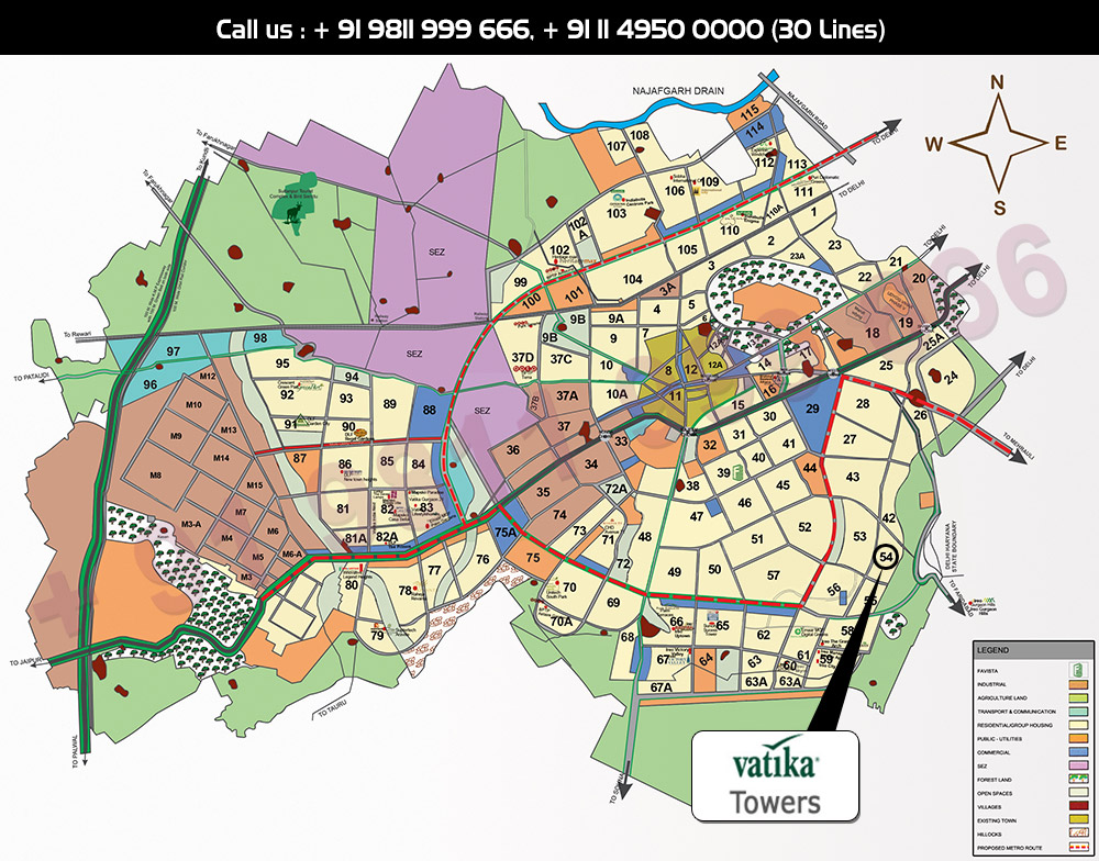Vatika Towers Location Map