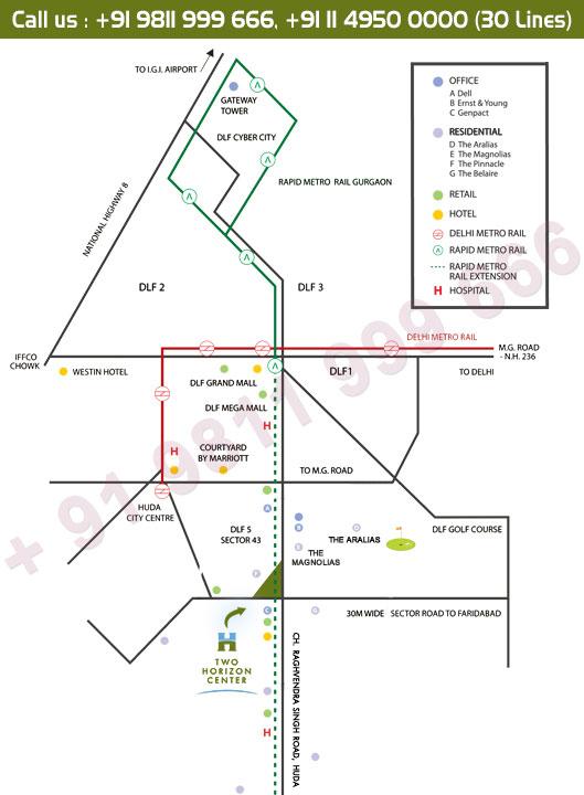 DLF Two Horizon Center Location Map