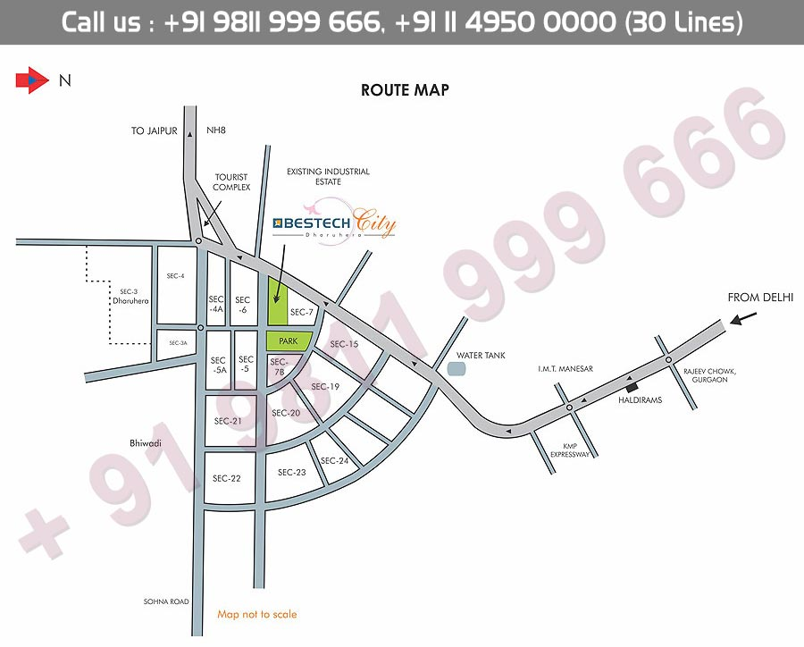Bestech City Centre Dharuhera Location Map