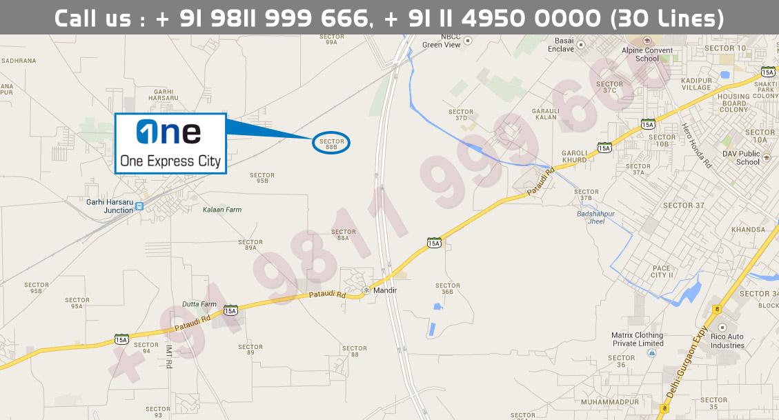 Vatika One Express City Location Map