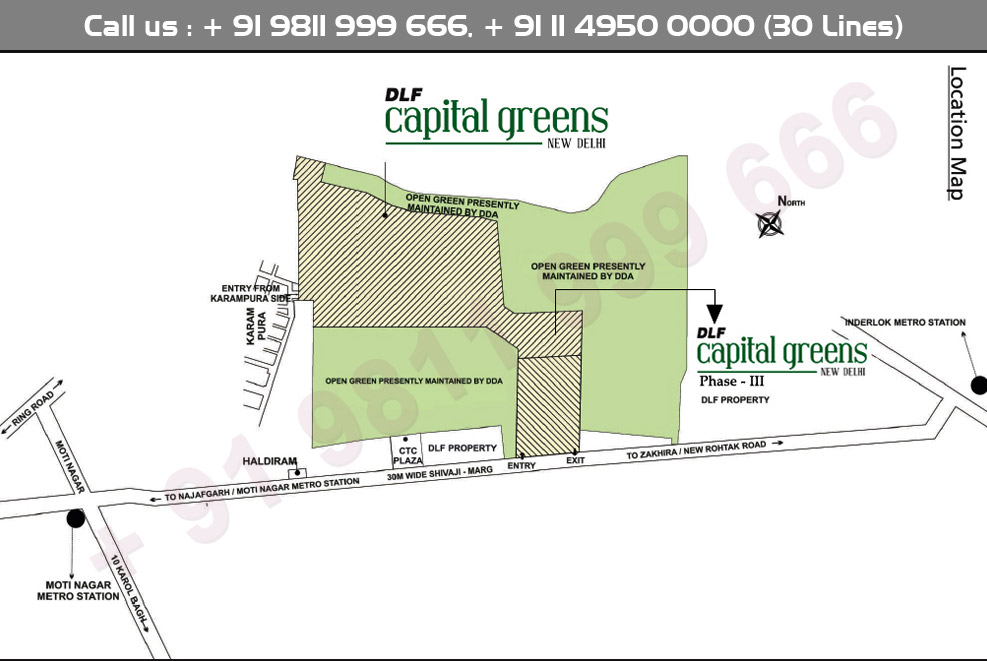 DLF Capital Greens Phase 3 Location Map