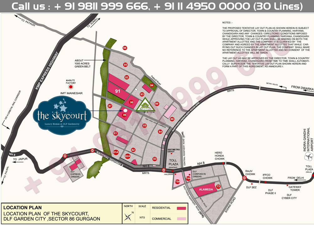 DLF Sky Court Location Map