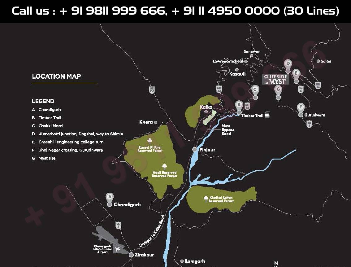 Location Map - TATA Myst Cliffside Kasauli