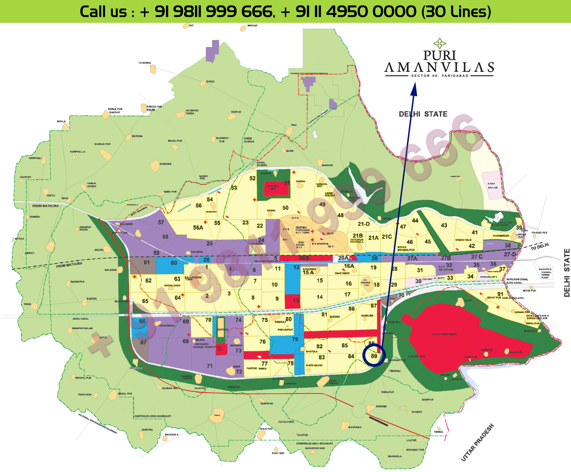 Location Map - Puri AmanVilas Faridabad