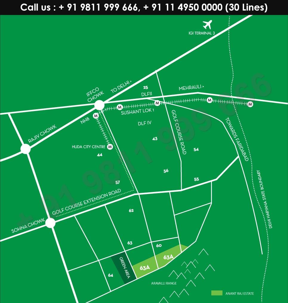 Anantraj Estate Villas Location Map