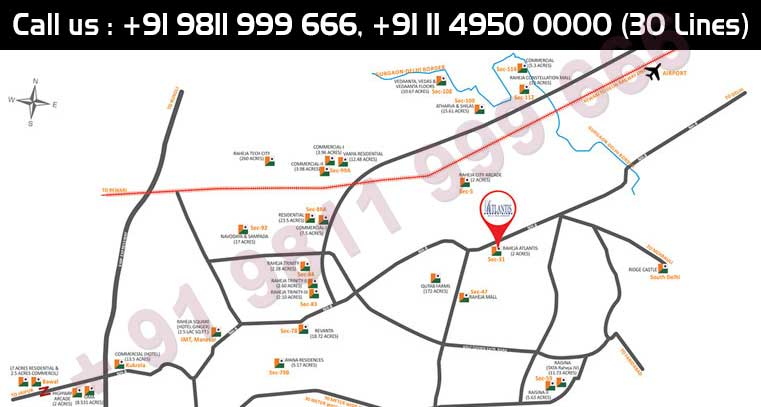 Location Map - Raheja Atlantis Gurgaon
