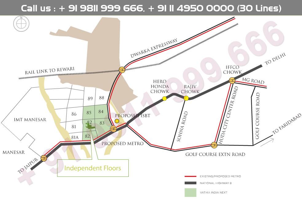 Vatika Independent Floors Location Map