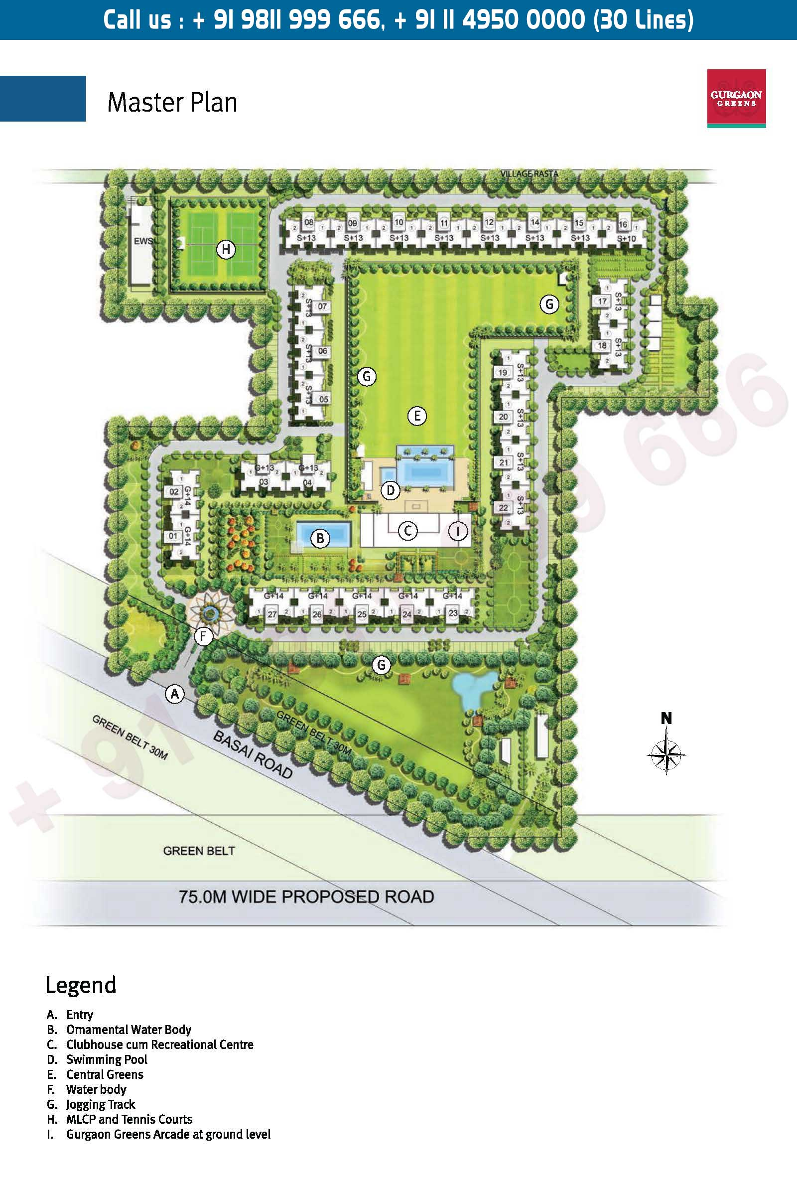 Emaar Gurgaon Greens Location Map