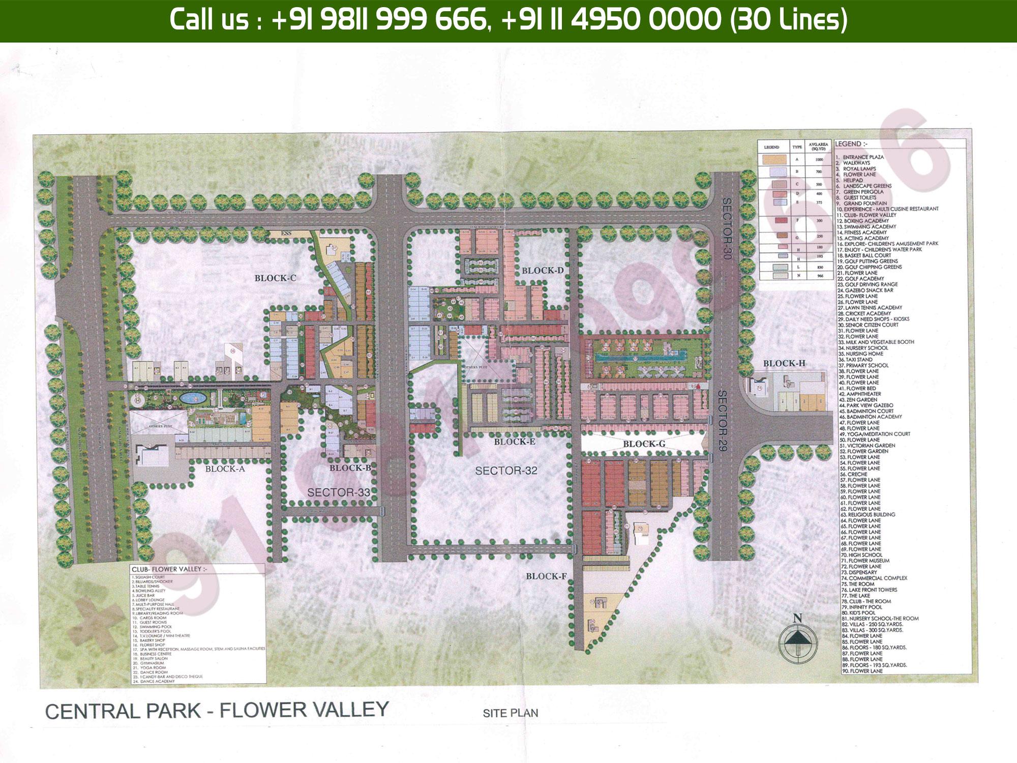 Master Plan - Central Park Flower Valley Fleur Villas Sohna