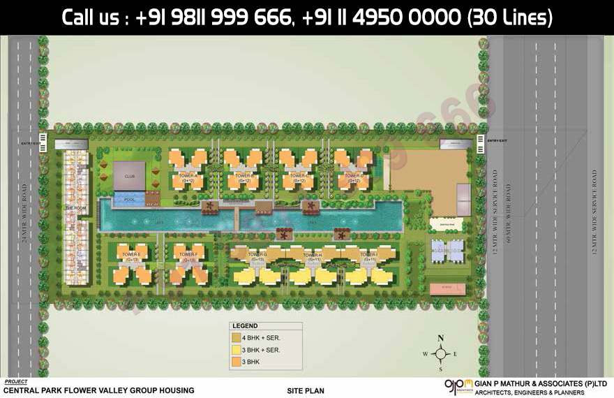 Site Plan - Central Park Flower Valley Aqua Front Towers Sohna